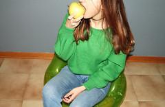 (Cristiana Carosella) Tags: girl apple style portrait strange alternative concept fashion denim knitwear mood interni