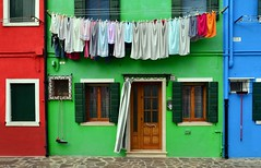 Laundry Day in Burano (njk1951) Tags: burano italy italia veneto island laundry brightcolors houses green red blue windows shutters clothesline facades laundryday