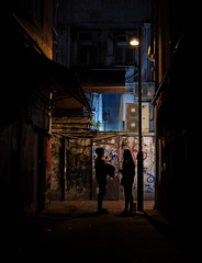 """alley life"" (ii) (hugo poon - one day in my life) Tags: xt2 23mmf2 hongkong causewaybay tanglungstreet alley citynight dark vanishing couple two lights goodnight love lane colours"