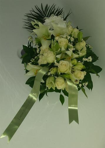 45mm mosgroen rouwlint met goud glimmend bedrukt