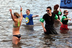 Loony dook 2017. (boneytongue) Tags: firth forth coast coastguard lifeboat scottish scotland scots south queensferry new years day traditional 2017 water beach loony dook wet costume fancy dress swim swimsuit groups public event charity fundraise bridge road