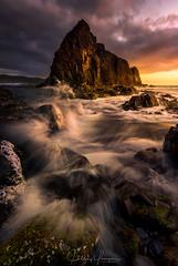Rogue ~ revised (hillsee) Tags: lionrock southernocean tasmania sunset light wave splash motion water ocean coast nikon d810 seascape sea nature