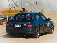A Boot Spoiler (Steve Taylor (Photography)) Tags: boot spoiler dent nissan pulsar gti building construction odd strange newzealand nz southisland canterbury christchurch city car vehicle auto automobile sunny sunshine