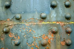 Colorful Weathering (Neal3K) Tags: portland oregon rivets rust bridge yellow blue weathering paint flaking peeling