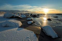 Sun snow-1 (Tommy Quinn) Tags: sunrise seascape sea sky stones beach brusand beautiful vinter canonef1635f4 canonmarkiii colors cold jæren norway nature