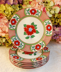 Fitz & Floyd Tiffany & Co Porcelain Luncheon Plates ~ Rust Flowers (Donna's Collectables) Tags: fitz floyd tiffany co porcelain luncheon plates ~ rust flowers