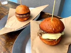 Chianina Beef Burger and Mushroom Burger at Working Class Kitchen (jjldickinson) Tags: appleiphone6plus kilroyairportcenter restaurant workingclasskitchen lunch beef hamburger bun brioche chianinabeefburger mushroomburger chianina chianinabeef toothpick longbeach