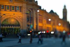 Melbourne Love (Jamie Frith) Tags: nikon d800 lensbaby edge80 melbourne victoria travel bokeh flindersstreetstation clock