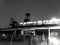 night (el) train (williamw60640) Tags: chicago elevatedtraintrack elevatedtrain nightscape blackandwhitephotography streetphotography