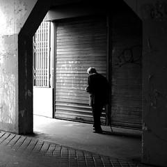 Under the porch (pascalcolin1) Tags: paris porche porch homme man vieux old canne cane lumière light ombre shadow photoderue streetview urbanarte noiretblanc blackandwithe photopascalcolin square