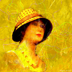 With strings (Lemon~art) Tags: yellow mannequin strings texture manipulation hat