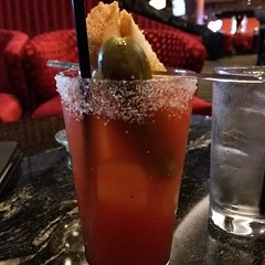 This Bloody Morning is made with Clamato juice instead of tomato. I guess it's a Bloody Caesar Morning now!