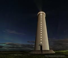 The Light. (Kjartan Guðmundur) Tags: nightphotography sky lighthouse clouds canon stars iceland nightscape nocturne ísland garður northernlights auroraborealis canoneos5dmarkiii tokinaatx1628mmf28profx kjartanguðmundur