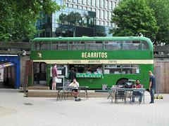 Bearritos (pefkosmad) Tags: city uk england urban food streetart bus green art public bristol graffiti gallery outdoor transport roundabout mexican publicart cantina doubledecker bearpit stjamesbarton bearritos