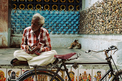 Pit Stop (AnimeshHazra) Tags: street old dog india man bicycle cycle hyderabad telangana