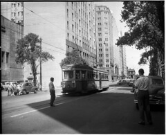 Last day of trams, covered in graffiti, Rural Bank tram stop, corner Martin Place and Elizabeth Street, Sydney, 25 February 1961 / unknown photographer (State Library of New South Wales collection) Tags: trams statelibraryofnewsouthwales