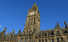 Clock tower in Manchester (Tony Worrall) Tags: county city uk blue england sky building tower clock architecture manchester stream tour open place northwest country north visit location clocktower area tall northern update iconic attraction manc manchestertownhall gmr welovethenorth ©2015tonyworrall