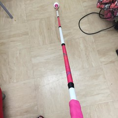 New long cane arrived pink and white stripes thanks #ambutech it