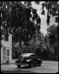 Old Car (cmayart88) Tags: old film florida antique scan spanishmoss 4x5 oaktree copy acar