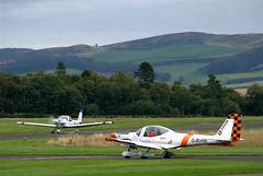 Tayside Grob Heron Departure (davidmcilroy) Tags: heron beautiful sunshine vintage scotland airport aircraft aviation perth scone piper flyin eurocopter grob socota