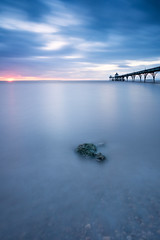 Lonley Rock  [EXPLORE 06-11-15] (~g@ry~ (clevedon-clarks)) Tags: uk longexposure sunset clouds landscape coast rocks victorian coastal bluehour listed clevedon clevedonpier milkywater victorianpier gradeilistedbuilding 6stopnd hitechfilters littlestopper