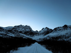 The blue hour (SofiDofi) Tags: road november blue sky mountains norway outdoors norge pretty hiking snowy walk hike clear lofoten nordnorge lofotenislands thebluehour iloveithere nordland flakstad nusfjord winter2015 ninemonthsupnorth ninemonthsinthenorth