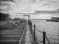 Charlestown Navy Yard (mahler9) Tags: jaym december 2015 charlestown navyyard shipyard bench boardwalk dock bnw
