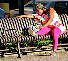 Lost and All Alone (LouLou'sLoves) Tags: bench woman female girl asleep city braids stpaul minnesota
