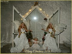 Angelic Christmas (barbie for Mary) Tags: barbie basic 002 barbiebasic mattel christmas2016 christmas decoration fashion angel ornaments christmastree lantern candle wings woodenbox divergent tris white gold dress mary korcek jewelry wreaths candleholders kelly snow globe sledge carrousel blonde teresa kaylalea
