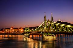 Liberty bridge (Andres Pela) Tags: bridge puente liberty libertad canon 6d sunset atardecer budapest hungria hungary europe travel city capital viajar rio danubio river