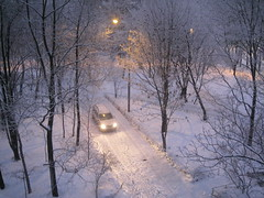 our yard in winter (VERUSHKA4) Tags: astounding image nature city ville yard hiver winter album december cold season canon europe russia moscow cityscape house car tree trunk branches snow neve beautiful view vue street light lamp
