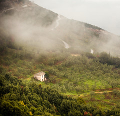 Misty House (Nick Panagou) Tags: nature artificial artificialnature light landscape hill house mountains tree trees art bestshotoftheday bestphotographer contrast canon6d dramatic road path greece greatphotographers gold thessaly mtpilion outdoor autumn clouds cloudysky colours mist misty