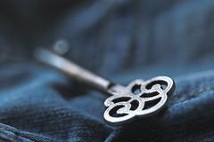 I won't stay.... (eleni m) Tags: macro key vintage denim jeansjacket jacket indoor blue bluedenim dof clothing stitching