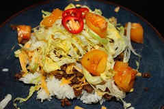 Taco Rice (samayoukodomo) Tags: tacorice okinawan heirloomtomato cheddarcheese simpleasthat