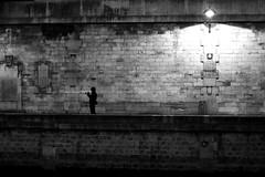 The night photographer (pascalcolin1) Tags: paris seine quaisdeseine quais quay homme man photographe photographer nuit night ombre shadow lumière light photoderue streetview urbanarte blackandwhite noiretblanc photopascalcolin
