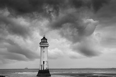 Weather at Perch Rock 8 (another_scotsman) Tags: perchrock lighthouse mersey river sky cloud stormy landscape seascape mono monochrome blackandwhite