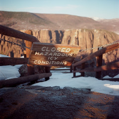 Closed Hazardous Icy Conditions (Colton Davie) Tags: 6x6cm path colornegative roadtrip film snow 2014 march magichour blackcanyonofthegunnison colorado iso100 rolleicordiii sign ektar100 kodak 120