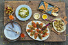 A Delectable Spread of Italian Food (Anoop Negi) Tags: bbc goodfood sicilian italian food platter crostini bruschetta funghii pasta fusilli corkscrew green sauce twists pimento anoop negi ezee123 photo photography