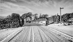Harwood . (wayman2011) Tags: fujifilmxt10 lightroom wayman2011 bwlandscapes mono winter snow gates signpost cottages pennines dales teesdale harwood countydurham uk