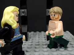 Surprised (MrKjito) Tags: lego minifig super hero comic green arrow black canary couple dc comics shirtless surprised