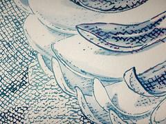 DSC0966912 (scott_waterman) Tags: ink watercolor gouache lotus lotusflower scottwaterman painting paper detail blue bluehue