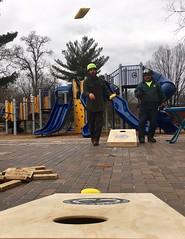 Arborist plays cornhole 1 (Montgomery Parks, MNCPPC) Tags: treeclimbing woodsidepark january2017 2017