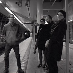 waiting for a train (Beaulawrence) Tags: street camera white black mamiya tlr film monochrome station vancouver analog train vintage square bc main delta transit format skytrain 3200 ilford c3