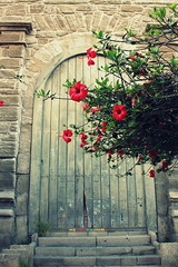 Iglesia de Santo Domingo (Gonzalo Balboa) Tags: flores canon puerta madera iglesia hibiscus entrada serena jardn reciente religin peldaos iglesiadesantodomingo