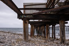 Under the Old Rapid Bay Jetty, South Australia (Sharon Wills) Tags: old building beach graffiti bay pier condemned rust jetty south australian australia valley beaches rusting peninsula southaustralia derelict rapid dilapidated rundown oldjetty fleurieupeninsula fleurieu rapidbay southaustralian rapidbayoldjetty
