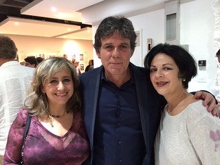 Adriana Herrera and Willy Castellanos, curators of  Aluna Art Foundation, with Michelle Wade at their opening