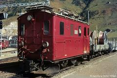 Furka Oberalp HGe 2/2 23 in Andermatt, 1980 (Tramfan2011) Tags: schweiz swiss berge fo mgb oberalp furka zahnradbahn furkaoberalp
