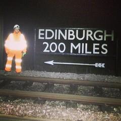 """Edinburgh 200 Miles"" (Sam Tait) Tags: york uk england sign night coast track sam shift rail railway east sleeper tait mainline icml"