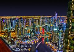Dubai Marina at Night (andy.gittos) Tags: light bar night marina boats hotel dubai skyscrapers uae trails observatory lighttrails yachts luxury unitedarabemirates hdr marriot dubaimarina 52 marriothotel 52ndfloor observatorybar level52