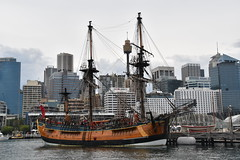 replica of James Cook's HMB Endeavour (Manoo Mistry) Tags: sydney australia nikond5500body nikon tamron18270mmzoom maritime ship harbour pirateship